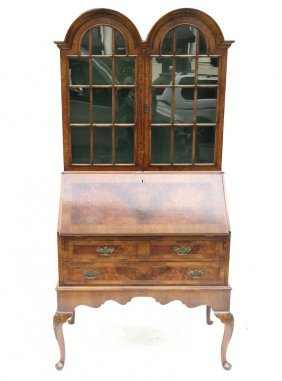 Queen Anne Style Burled Walnut Secretary