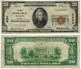 U.s. 1929 $20 National Bank Note