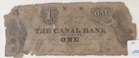 Canal Bank Albany 1847 $1 Obsolete Note