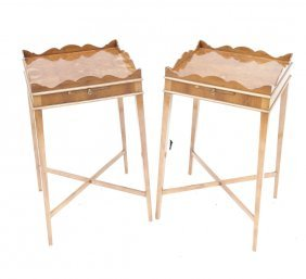 Pair Of English Style Scallop Top Tables