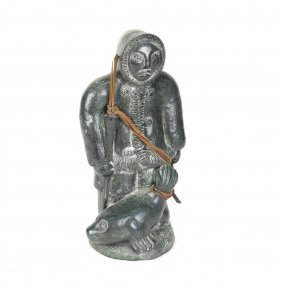 Soapstone Carving, Inuit With Seal