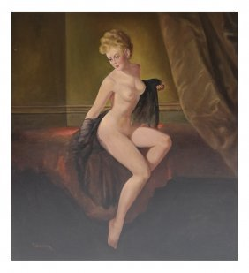 T. Winston, Pin-up Nude - Oil On Canvas