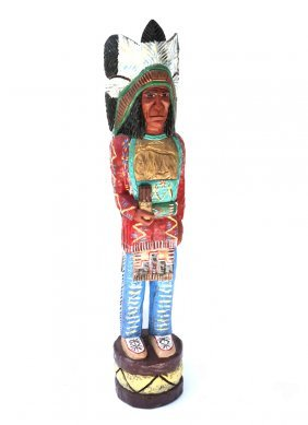 Painted And Carved Cigar Store Indian