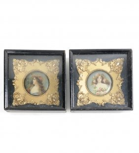 Pair Of Miniature Female Portraits