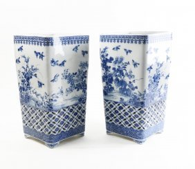 Pair Of Chinese Blue And White Urns