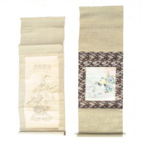 Two Asian Scrolls, Samurai And Flowers