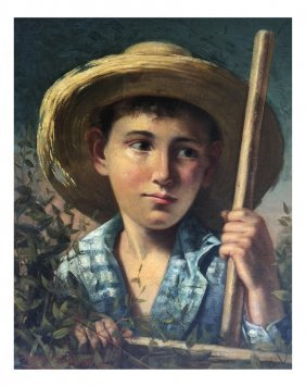 Oil On Canvas, Boy With Straw Hat