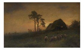 Hermann Herzog, Landscape With Sheep
