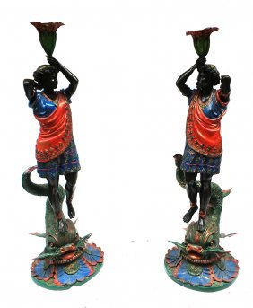 Pair Venetian-style Figural Torchieres
