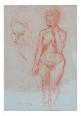 Moses Soyer, Nude Female - Conte Crayon