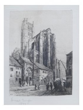 Ernest George, Etching Of Cathedral