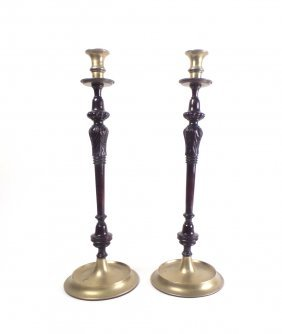 Pair Of Wooden Candlesticks