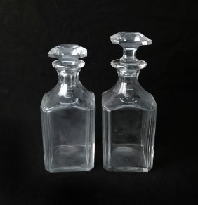Pair Of Baccarat Glass Decanters
