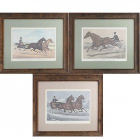 Three Prints, Currier & Ives - Trotters