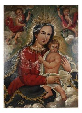 Mexican Retablo Mother And Child