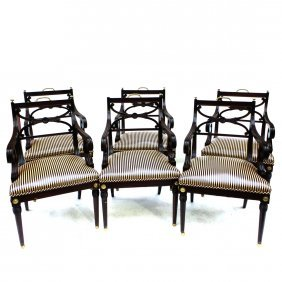 Set Of Six Regency-style Armchairs