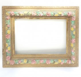 19th C. Wood And Gesso Floral Frame