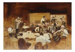 """Charles Apt, """"Orchestra"""", Oil on Canvas"""