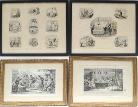 Lot Of 4 Assorted Antique Prints