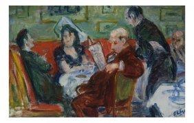 Robert Phillip Oil On Canvas, Lounge
