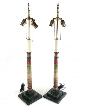 Pair Of Decorated Column Lamps