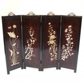 Asian Four-panel Table Screen W/ M.o.p.