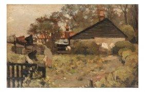 J.c. Cazini, O/b, Farmhouse W/figures