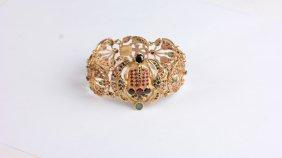 18k Gold And Jeweled Egyptian Bracelet