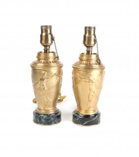Pair Of Gilt Bronze Vase Shaped Lamps