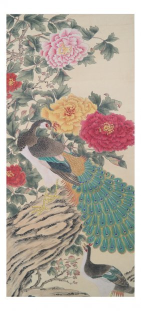 Chinese Print With Lotus And Peacock