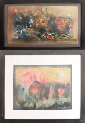 R. Rosenborg, Two Abstract Watercolors