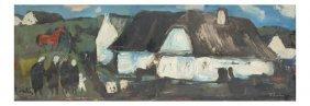Village Scene, Oil On Masonite