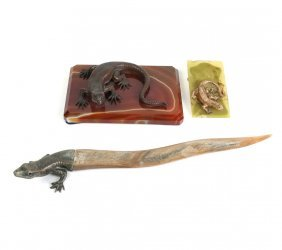 Three Pieces Lizard Motif Desk Items