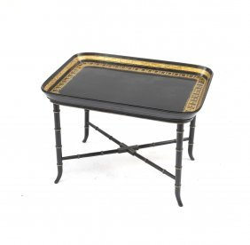 English Lacquered Tray Top Table