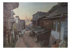 Village Street Scene, Oil on Canvas
