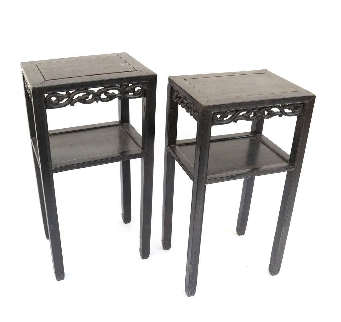 Pair of Asian Hardwood Two-Tier Stands