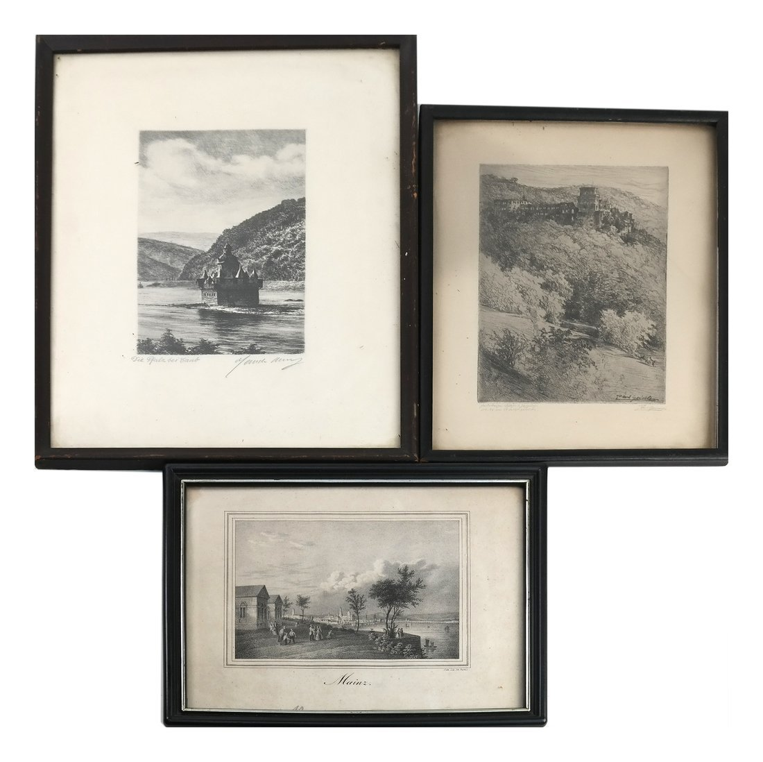 Three Various Framed Landscape Etchings