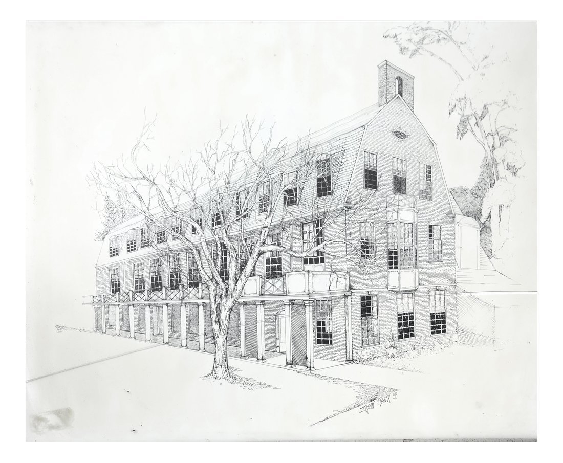 Architectural Etching, Brick Residence