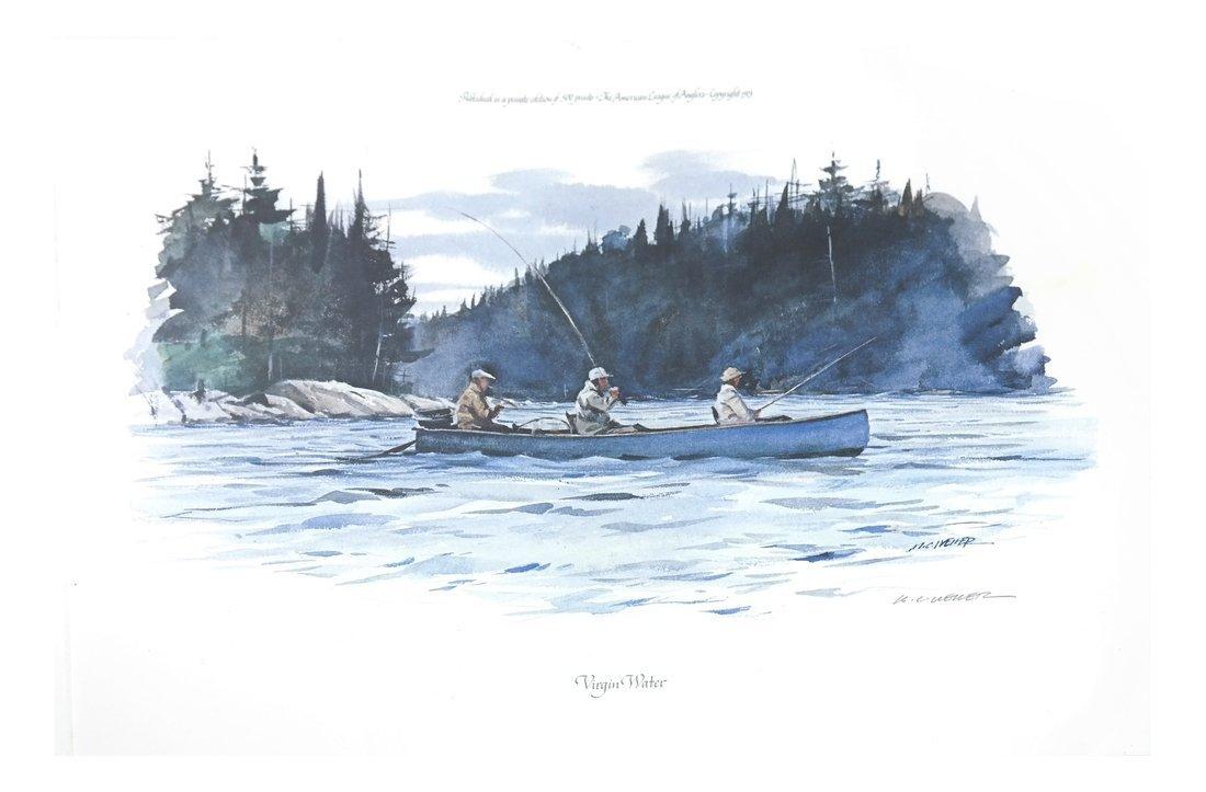 Off-Set Lithograph of a River Scene