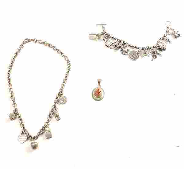 2 Silver Bracelets & An Opal Pendant