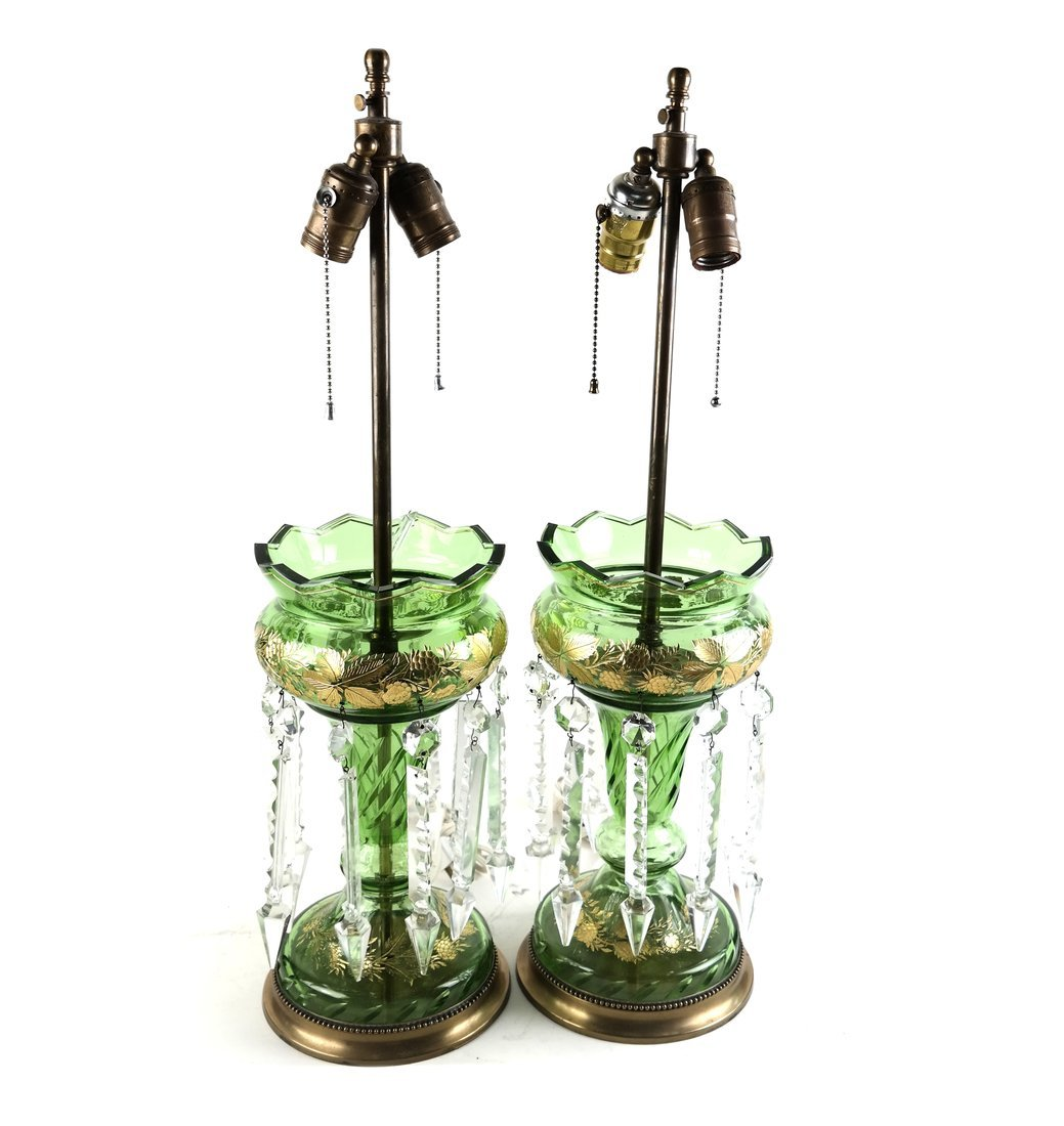 Pair of Green Bohemian Glass Lusters