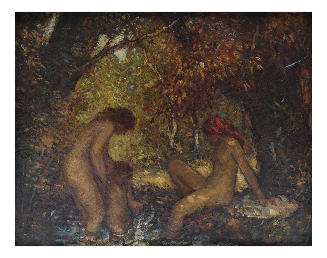 Nudes Bathing, Oil on Canvas Board