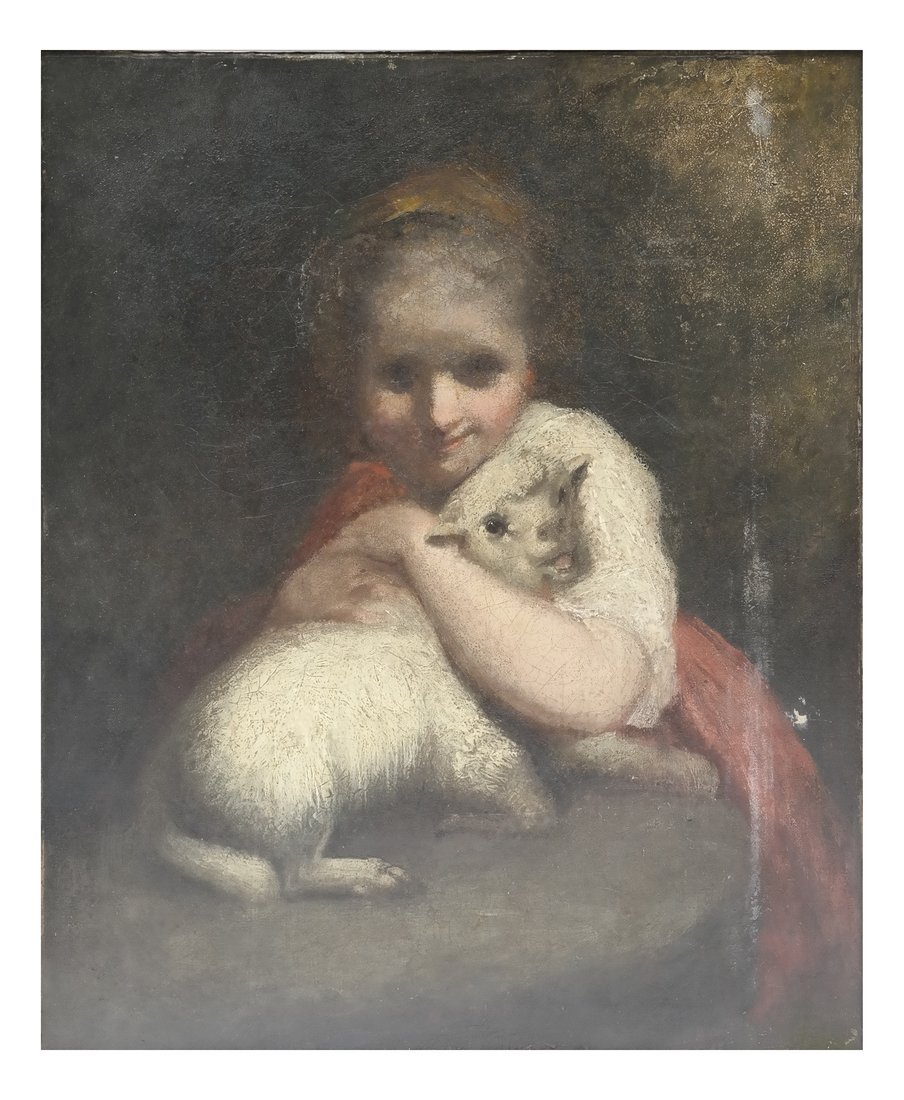 Oil on Canvas, Girl with Lamb