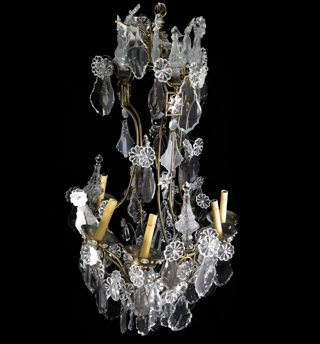 Ornate Bronze Bagues Crystal Chandelier