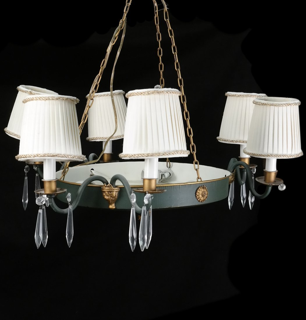 Empire-Style Tole Peinte Gilt Chandelier