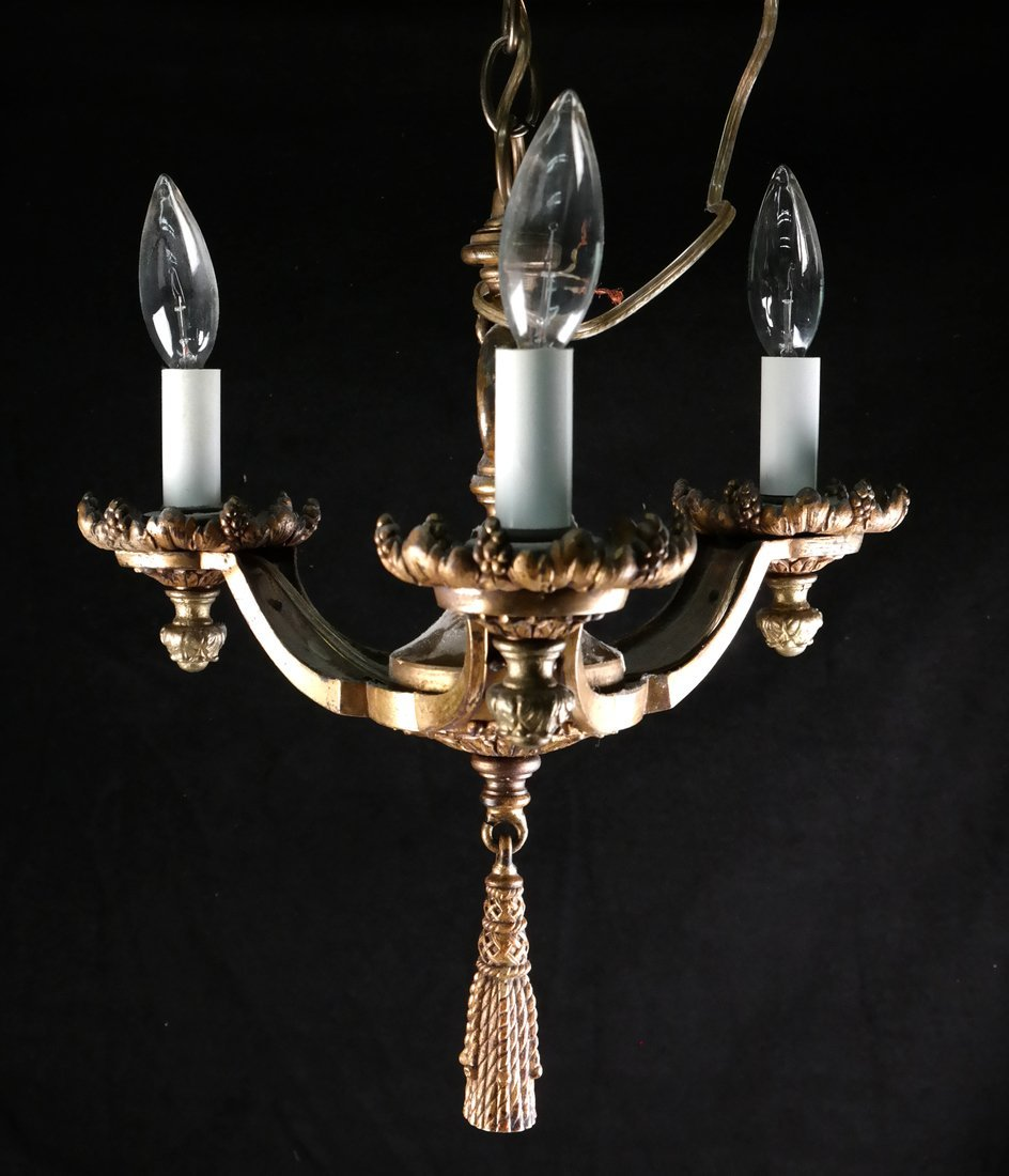 Gilt Bronze 3-Light Chandelier