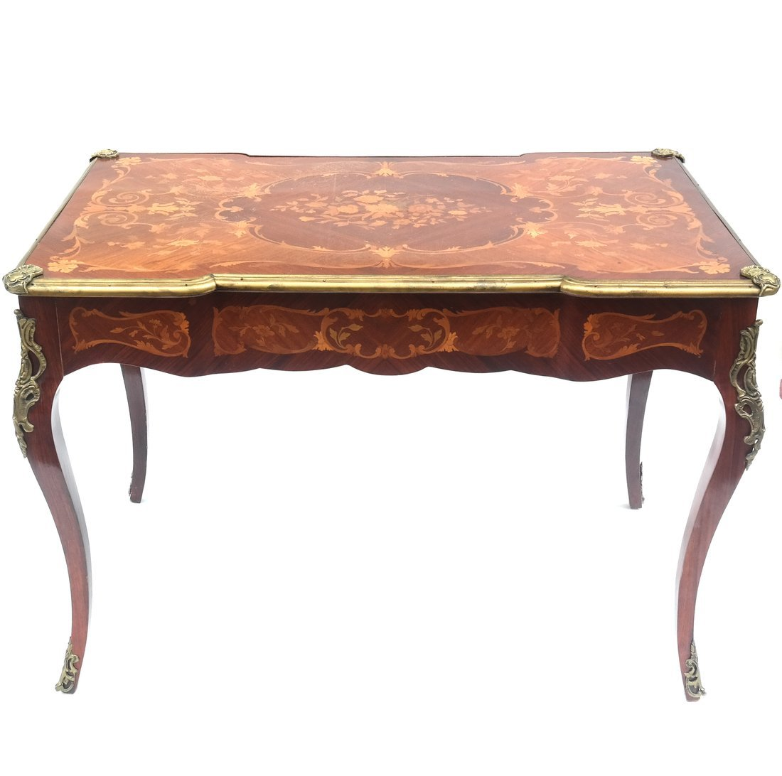 Louis XV-Style Marquetry Writing Desk