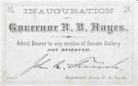 Rutherford B. Hayes 1877 Inaugural Ticket