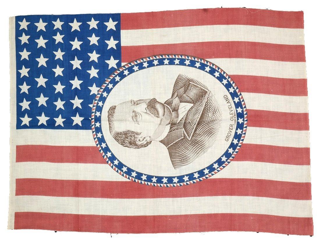 Grover Cleveland 1884 Vertical Portrait Campaign Flag