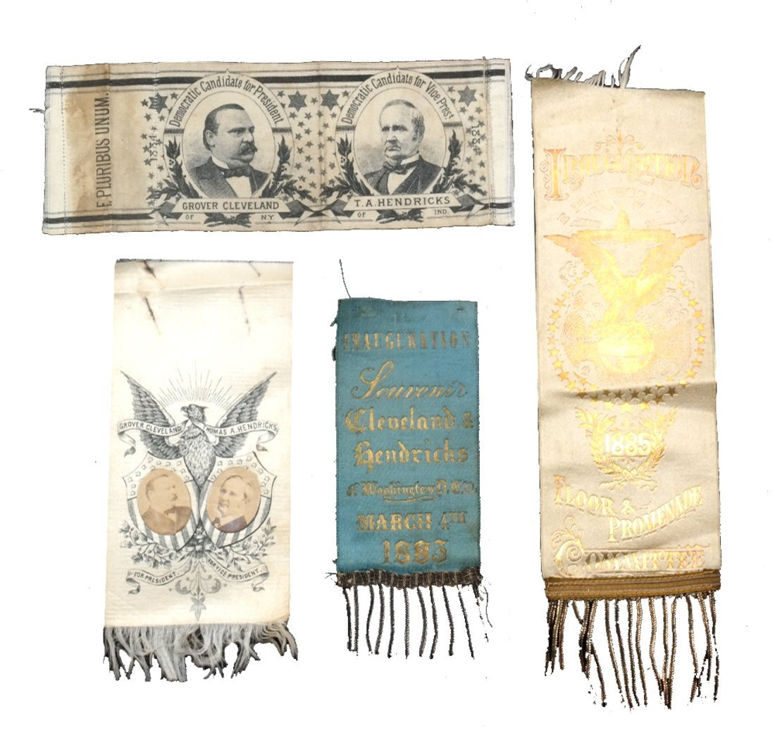G. Cleveland & T.A. Hendricks 1884 and 1885 Ribbons